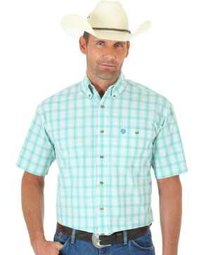 Wrangler George Strait Light Green and White Plaid Short Sleeve Shirt, Multi, hi-res