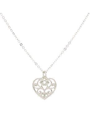 Montana Silversmiths Petite Heart's Flame Lattice Necklace, Silver, hi-res