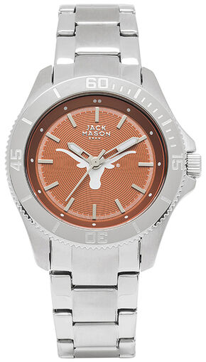 Jack Mason Women's University of Texas Team Color Dial Sport Bracelet Watch , Silver, hi-res