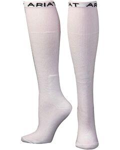 Ariat Men's Over the Calf White Boot Socks, , hi-res