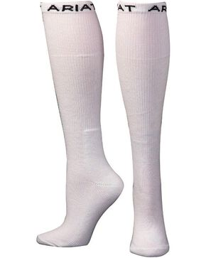 Ariat Men's Over the Calf White Boot Socks, White, hi-res