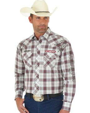 Wrangler Men's PBR Logo Western Snap Plaid Shirt, Multi, hi-res