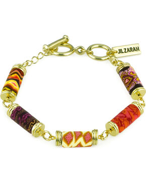 Jilzarah Sunset Tube Bead Gold Bracelet, Sunset, hi-res
