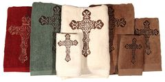 HiEnd Accents Three-Piece Embroidered Cross Bath Towel Set - Brown, , hi-res