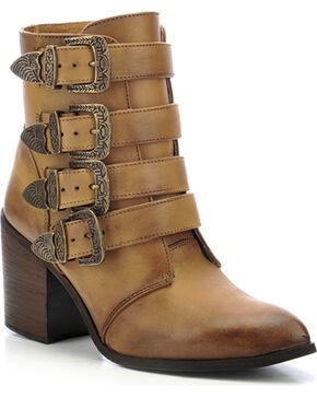 Circle G Buckled Ankle Boots - Round Toe, Tan, hi-res
