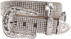 Nocona Rhinestone Cross Buckle Belt, , hi-res
