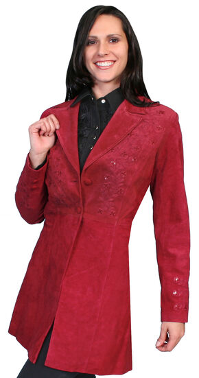 Scully Embroidered Boar Suede Long Coat, Red, hi-res
