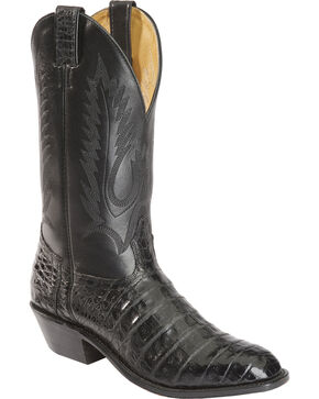 Boulet Caiman Belly Cowboy Boots - Round Toe, Black, hi-res