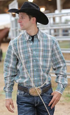 Cinch Men's Blue Plaid Stretch Poplin Modern Fit Western Shirt, , hi-res