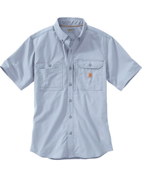 Carhartt Men's Force Ridgefield Short Sleeve Solid Shirt, Light Blue, hi-res