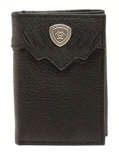 Ariat Black Shield Trifold Wallet, , hi-res