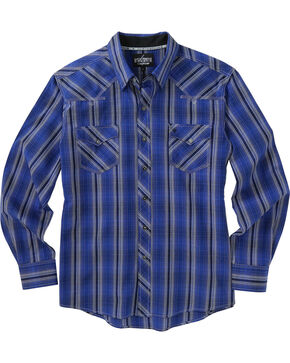 Garth Brooks Sevens by Cinch Blue and Grey Plaid Western Shirt , Blue, hi-res
