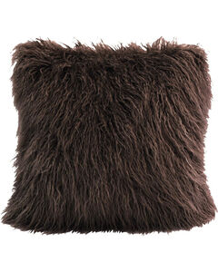 HiEnd Accents Mangolian Faux Fur Pillow, Chocolate, hi-res
