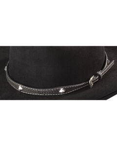 Leather Laced Diamond Concho Hat Band, , hi-res
