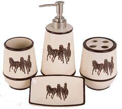 HiEnd Accents Three Horses 4-Piece Bathroom Set, , hi-res