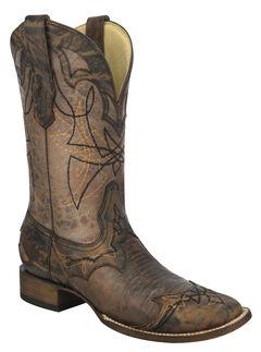 Corral Distressed Lizard Cowboy Boots - Wide Square Toe, , hi-res