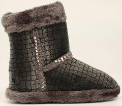 Blazin Roxx Plush Gray Sequin Slipper Booties, , hi-res