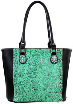 Montana West Trinity Ranch Black/Turquoise Tooled Design Concealed Handgun Collection Handbag, , hi-res