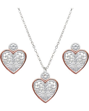 Montana Silversmiths Women's Western Lace Classic Heart Jewelry Set, Silver, hi-res
