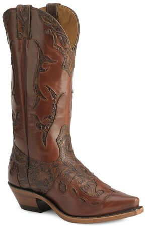 Boulet Hand Tooled Inlay Cowgirl Boots - Snip Toe, Chestnut, hi-res