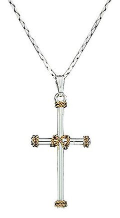 Montana Silversmiths Roped Cross Charm Necklace, , hi-res