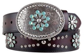 Ariat Snowflake Belt, Chocolate, hi-res