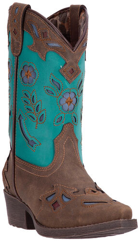 Laredo Girls' Little Kate Cowgirl Boots - Snip Toe , Brown, hi-res