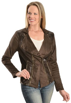 Faux Suede Snakeskin Print Jacket, Brown, hi-res