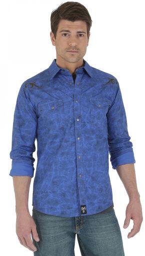 Wrangler Rock 47 Blue Printed Poplin Shirt, Blue, hi-res