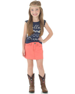 Wrangler Girls' Coral Canvas Skirt, , hi-res