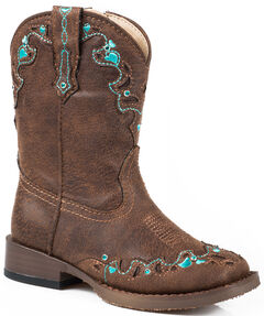Roper Toddler Girls' Brown Vintage Crystal Cowgirl Boots - Square Toe  , , hi-res