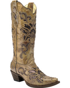 Corral Vintage Honey Brown Studded Cowgirl Boots - Snip Toe, , hi-res