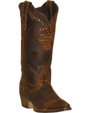 Rawhide by Abilene Boots Women's Nailhead Cap Toe Cowgirl Boots - Snip Toe, Brown, hi-res