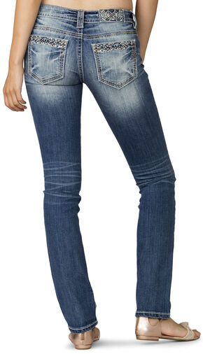 Miss Me Women's Indigo Garden View  Low-Rise Jeans - Plus Size , Indigo, hi-res