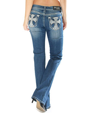 Grace in LA Women's Cross Pocket Jeans - Boot Cut, Indigo, hi-res