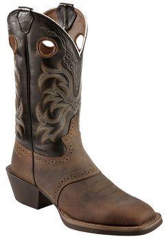 Justin Men's Punchy Stampede Black Cowboy Boots - Square Toe, , hi-res