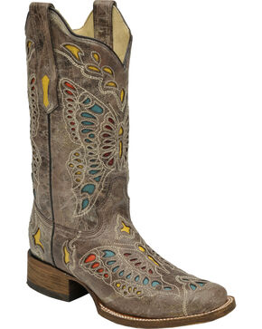 Corral Women's Taupe Butterfly Cowgirl Boots - Square Toe, Brown, hi-res