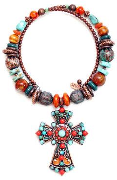 Treska Women's Santa Fe Beaded Pendant Coil Necklace , Multi, hi-res