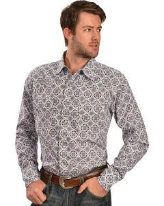 Wrangler 20X Men's Blue & White Print Long Sleeve Snap Shirt, , hi-res