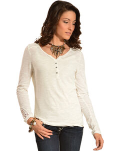Ariat Women's Kate Crochet Overlay Henley Top, , hi-res