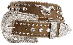 Nocona Girls' Brown Rhinestone Leather Belt - 18-28, , hi-res