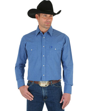 Wrangler George Strait Men's Blue Print Shirt, Blue, hi-res