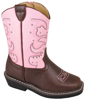 Smoky Mountain Girls' Austin Lights Western Boots - Round Toe, Brown, hi-res