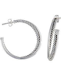 Montana Silversmiths Rope Hoop Earrings, , hi-res