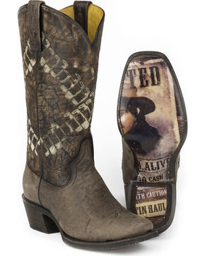 Tin Haul Men's Bullet Bandolero Sole Cowboy Boots - Square Toe, Brown, hi-res