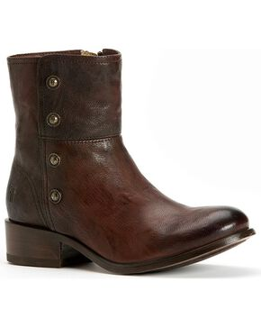 Frye Women's Lynn Military Short Boots - Round Toe, Dark Brown, hi-res