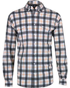Cinch Men's Orange Plaid Double Pocket Shirt, , hi-res