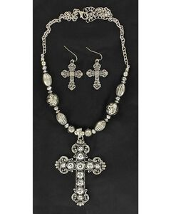 Blazin Roxx Hematite Cross Pendant Necklace & Earrings Set, , hi-res