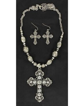 Blazin Roxx Hematite Cross Pendant Necklace & Earrings Set, Silver, hi-res