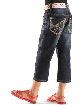 Rodeo Girl Girls' Denim Embroidered Capris 4-6X, Denim, hi-res